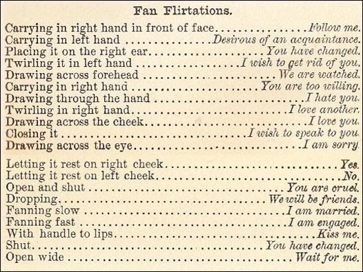 Victorian fan etiquette from Cassell's Magazine, 1866